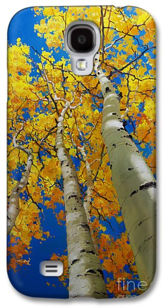 Posters On Paintings Galaxy S4 Cases - Blue Sky and Tall Aspen Trees Galaxy S4 Case by Gary Kim