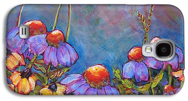 Floral Still Life Paintings Galaxy S4 Cases - Blue Sky Flowers Galaxy S4 Case by Blenda Studio