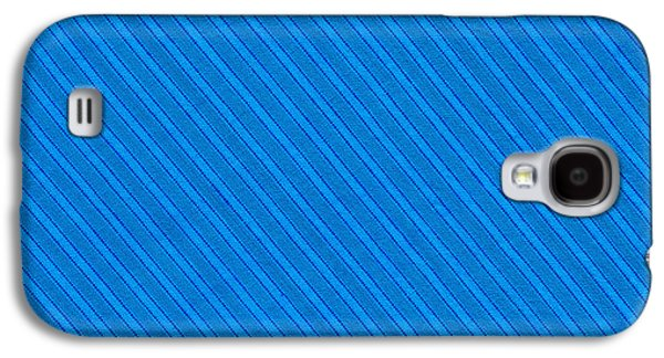 Textured Digital Art Galaxy S4 Cases - Blue Striped Diagonal Textile Background Galaxy S4 Case by Keith Webber Jr