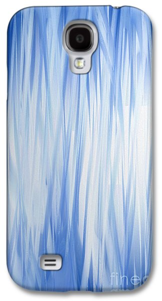 Abstract Digital Galaxy S4 Cases - Blue Swoops Vertical Abstract Galaxy S4 Case by Andee Design