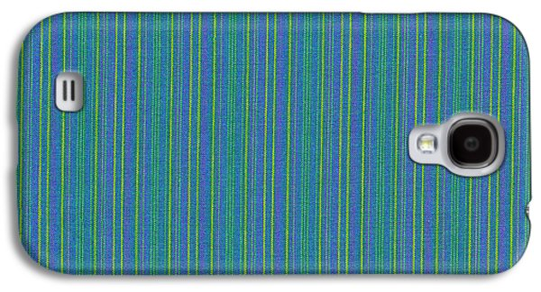Textured Digital Art Galaxy S4 Cases - Blue Teal And Yellow Striped Textile Background Galaxy S4 Case by Keith Webber Jr