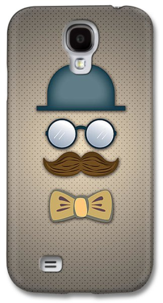 Tapestries Textiles Galaxy S4 Cases - Blue Top Hat Moustache Glasses and Bow Tie Galaxy S4 Case by Ym Chin