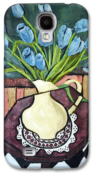 Posters On Digital Galaxy S4 Cases - Blue Tulips On Octagon Table Galaxy S4 Case by Anthony Falbo