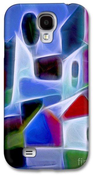 Abstract Digital Mixed Media Galaxy S4 Cases - Blue Village Galaxy S4 Case by Lutz Baar