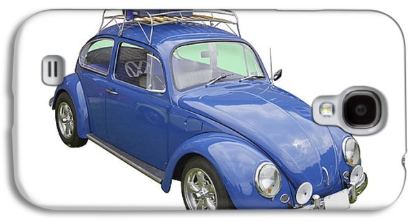 Punch Digital Art Galaxy S4 Cases - Blue Volkswagen beetle Punch Buggy Galaxy S4 Case by Keith Webber Jr