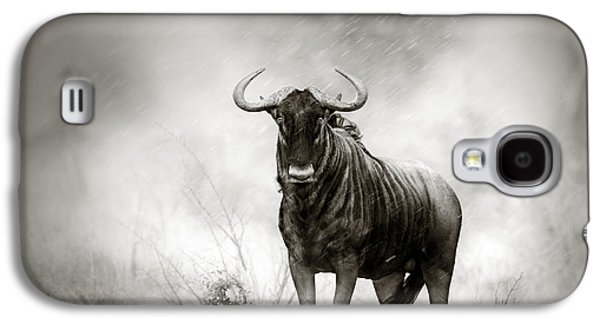 Solitude Photographs Galaxy S4 Cases - Blue Wildebeest in rainstorm Galaxy S4 Case by Johan Swanepoel