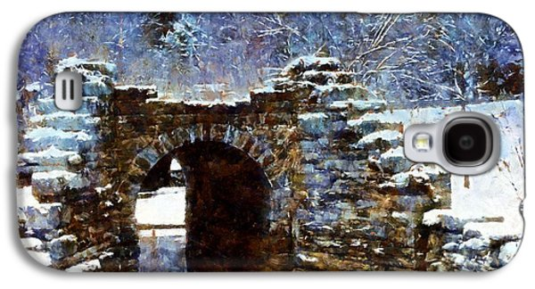 Ancient Galaxy S4 Cases - Blue Winter Stone Bridge Galaxy S4 Case by Janine Riley
