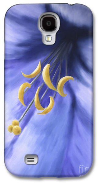 Colorful Abstract Galaxy S4 Cases - Blue yellow flower Galaxy S4 Case by Christina Rahm
