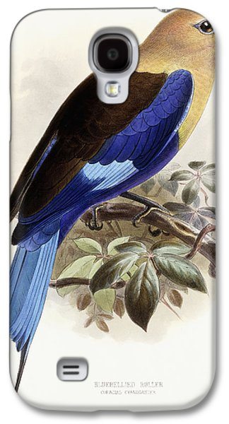 Wild Life Drawings Galaxy S4 Cases - Bluebellied Roller Galaxy S4 Case by Johan Gerard Keulemans