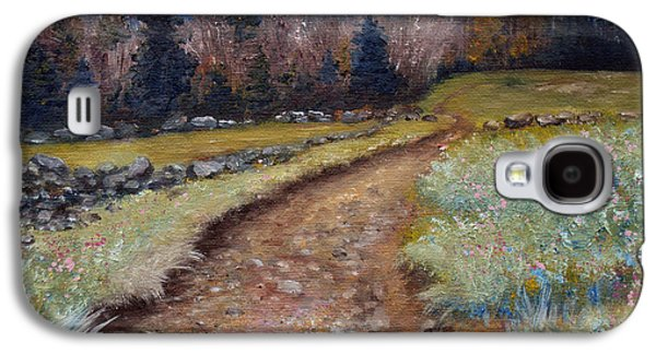 Maine Roads Paintings Galaxy S4 Cases - Blueberry Field Early Spring Galaxy S4 Case by Laura Tasheiko