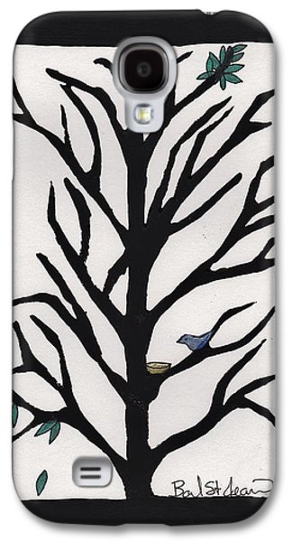 Lino-cut Galaxy S4 Cases - Bluebird in a Pear Tree Galaxy S4 Case by Barbara St Jean