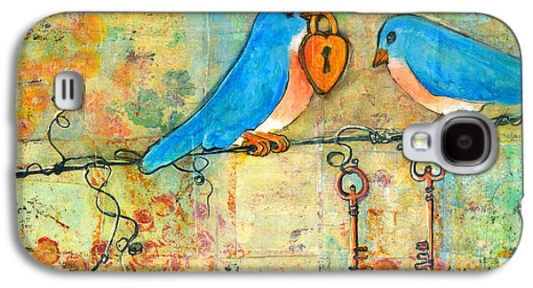 Print Mixed Media Galaxy S4 Cases - Bluebird Painting - Art Key to My Heart Galaxy S4 Case by Blenda Studio