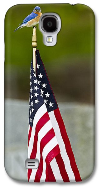 4th July Galaxy S4 Cases - Bluebird Perched on American Flag Galaxy S4 Case by John Vose