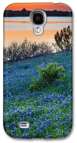 Mounds Galaxy S4 Cases - Grapevine Lake Bluebonnets Galaxy S4 Case by Inge Johnsson