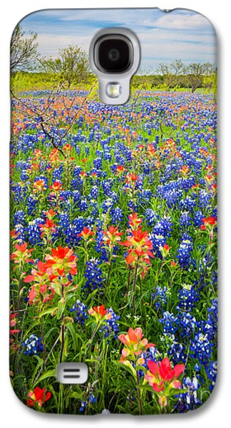 Pasture Scenes Photographs Galaxy S4 Cases - Bluebonnets and Prarie Fire Galaxy S4 Case by Inge Johnsson