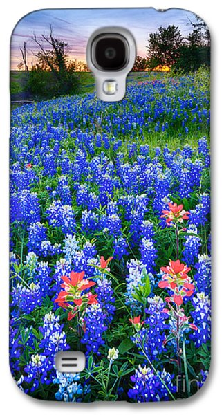 Pasture Scenes Photographs Galaxy S4 Cases - Bluebonnets Forever Galaxy S4 Case by Inge Johnsson