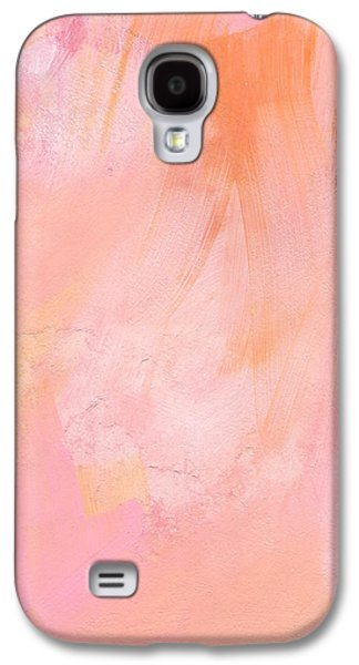 Texture Mixed Media Galaxy S4 Cases - Blush- abstract painting in pinks Galaxy S4 Case by Linda Woods