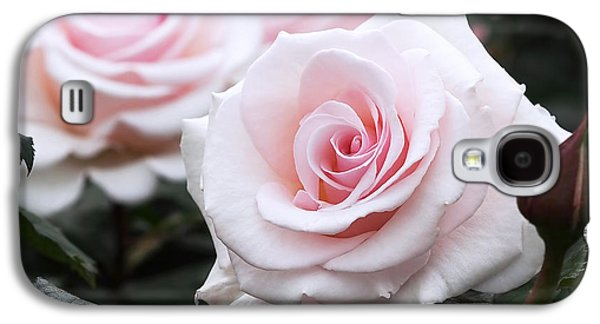 Rosaceae Galaxy S4 Cases - Blush Pink Roses Galaxy S4 Case by Rona Black
