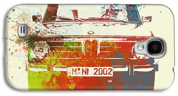 Classic Cars Photographs Galaxy S4 Cases - BMW 2002 Front Watercolor 2 Galaxy S4 Case by Naxart Studio