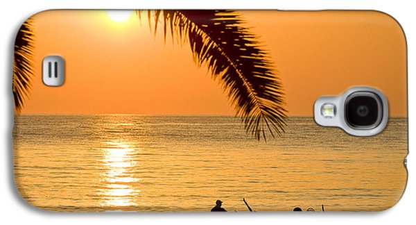Orange Pyrography Galaxy S4 Cases - Boat at sea Sunset golden color with palm Galaxy S4 Case by Raimond Klavins