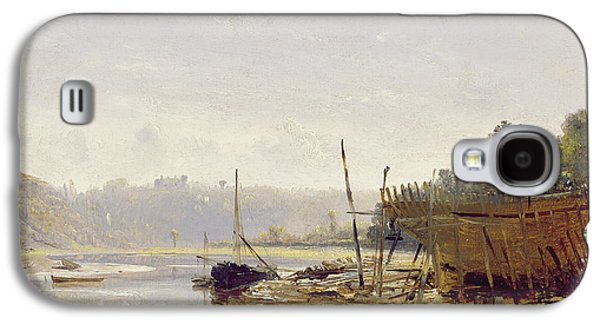 Beach Landscape Galaxy S4 Cases - Boat Building Near Dinan, Brittany, C.1838 Oil On Paper On Panel Galaxy S4 Case by Francis Danby