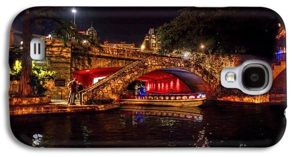 Dan Friend Galaxy S4 Cases - Boat on canal Riverwalk San Antonio at night Galaxy S4 Case by Dan Friend