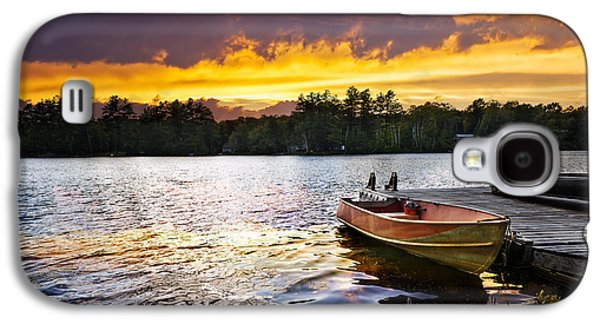 Rowboat Galaxy S4 Cases - Boat on lake at sunset Galaxy S4 Case by Elena Elisseeva