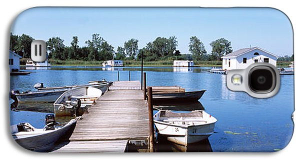Boats On Water Galaxy S4 Cases - Boathouses In A Lake, Lake Erie, Erie Galaxy S4 Case by Panoramic Images