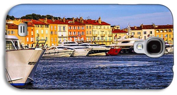 Yacht Galaxy S4 Cases - Boats at St.Tropez harbor Galaxy S4 Case by Elena Elisseeva