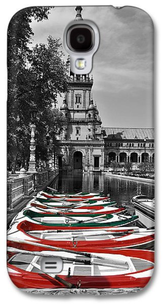 Row Boat Digital Galaxy S4 Cases - Boats by the Plaza de Espana Seville Galaxy S4 Case by Mary Machare