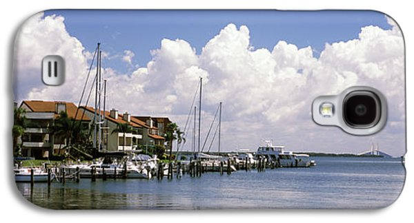 Sunshine Skyway Bridge Galaxy S4 Cases - Boats Docked In A Bay, Cabbage Key Galaxy S4 Case by Panoramic Images