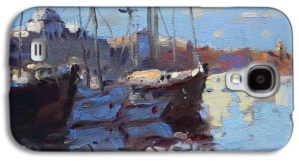 Mediterranean Landscape Galaxy S4 Cases - Boats in Mandraki Rhodes Greece  Galaxy S4 Case by Ylli Haruni