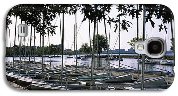 Charles River Galaxy S4 Cases - Boats Moored At A Dock, Charles River Galaxy S4 Case by Panoramic Images