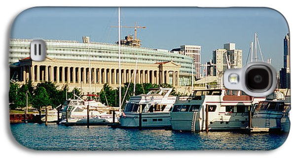 Soldier Field Galaxy S4 Cases - Boats Moored At A Dock, Chicago Galaxy S4 Case by Panoramic Images