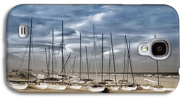 Duo Tone Galaxy S4 Cases - Boats on Beach in Duo-tone Galaxy S4 Case by Carolyn Derstine