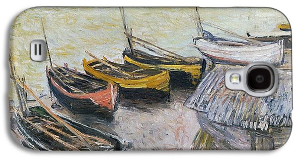 Seaside Galaxy S4 Cases - Boats on the Beach Galaxy S4 Case by Claude Monet