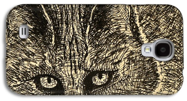 Bobcats Drawings Galaxy S4 Cases - Bob Cat Galaxy S4 Case by Denis Gloudeman