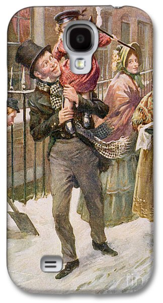 Crutch Galaxy S4 Cases - Bob Cratchit and Tiny Tim Galaxy S4 Case by Harold Copping