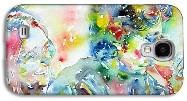Bob Dylan Paintings Galaxy S4 Cases - BOB DYLAN and JOAN BAEZ WATERCOLOR PORTRAIT.1 Galaxy S4 Case by Fabrizio Cassetta