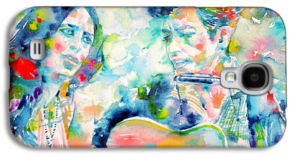 Bob Dylan Paintings Galaxy S4 Cases - BOB DYLAN and JOAN BAEZ watercolor PORTRAIT.2 Galaxy S4 Case by Fabrizio Cassetta