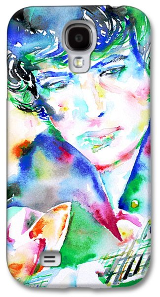 Bob Dylan Paintings Galaxy S4 Cases - BOB DYLAN playing the GUITAR - WATERCOLOR PORTRAIT.2 Galaxy S4 Case by Fabrizio Cassetta