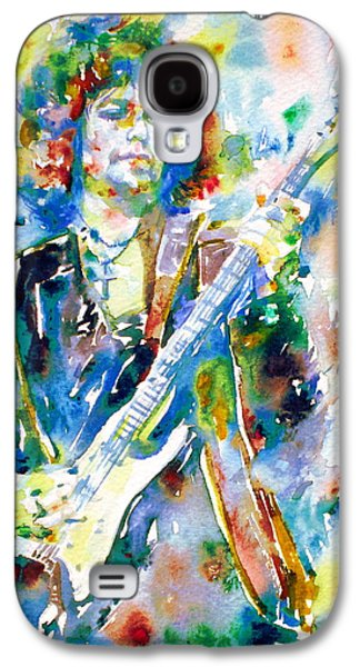 Bob Dylan Paintings Galaxy S4 Cases - BOB DYLAN playing the GUITAR - watercolor portrait.3 Galaxy S4 Case by Fabrizio Cassetta