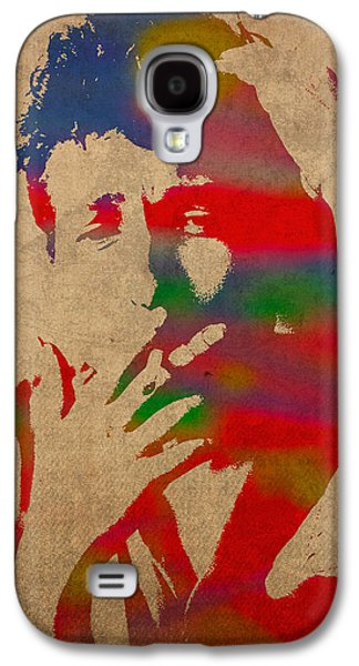 Bob Dylan Watercolor Portrait On Worn Distressed Canvas Galaxy S4 Case by Design Turnpike