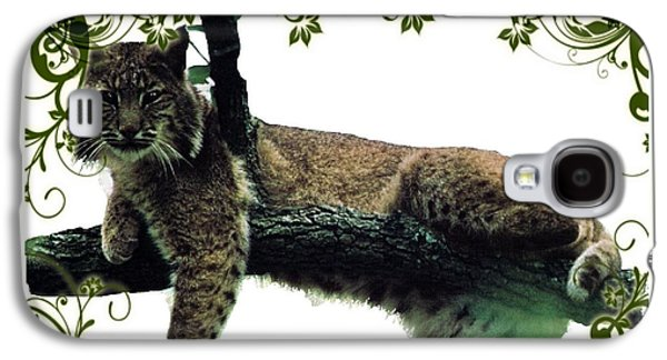 Bobcats Digital Galaxy S4 Cases - Bobcat in a tree Galaxy S4 Case by Teresa  Peterson