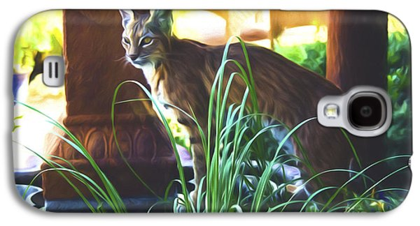 Bobcats Digital Galaxy S4 Cases - Bobcat in my Garden Galaxy S4 Case by Steve Bailey