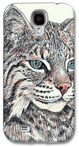 Bobcats Drawings Galaxy S4 Cases - Bobcat Portrait Galaxy S4 Case by VLee Watson
