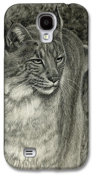 Bobcats Drawings Galaxy S4 Cases - Bobcat Emerging Galaxy S4 Case by Sandra LaFaut