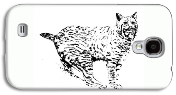 Bobcats Drawings Galaxy S4 Cases - Bobcat Galaxy S4 Case by Teresa  Peterson