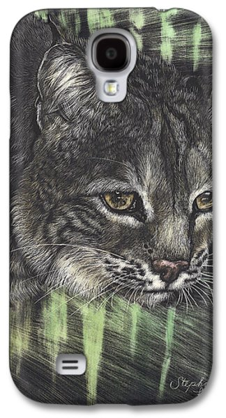 Bobcats Drawings Galaxy S4 Cases - Bobcat Watching Galaxy S4 Case by Stephanie Ford