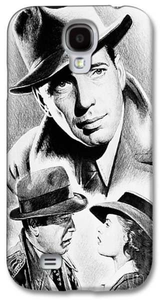 Character Portraits Drawings Galaxy S4 Cases - Bogart Galaxy S4 Case by Andrew Read